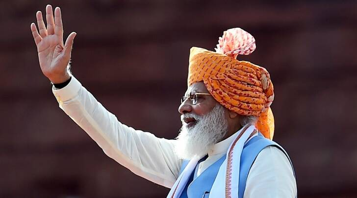 Prime Minister Narendra Modi waves at the audience during the 75th Independence Day function at the historic Red Fort, in New Delhi (PTI)