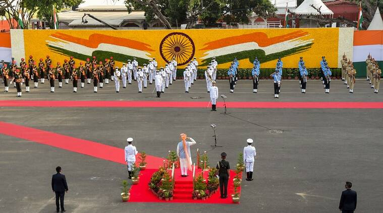 Prime Minister Narendra Modi takes salute before inspecting the guard of honour at historic Red Fort (PTI)