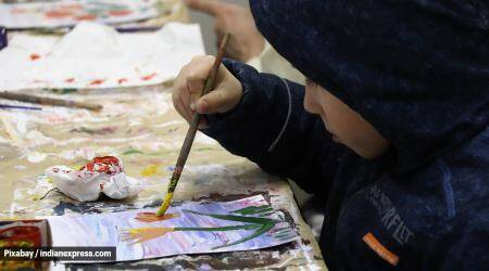 children learning at home, activities for kids, learning and development, painting, playing with clay, physical activities, parenting, indian express news