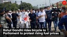 Rahul Gandhi rides bicycle to Parliament to protest rising fuel prices