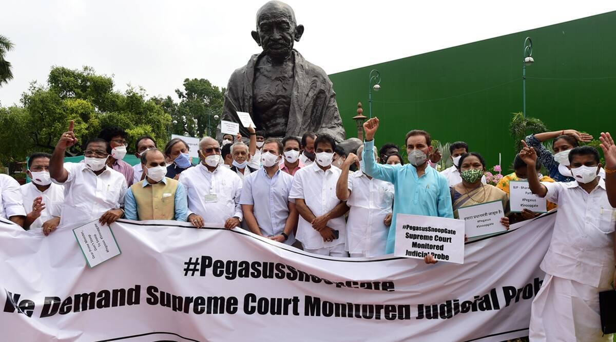 Pegasus row, Pegasus row supreme court, rahul gandhi Pegasus row, project Pegasus row, Modi govt Pegasus row , parliamnet monsoo session, Indian Express