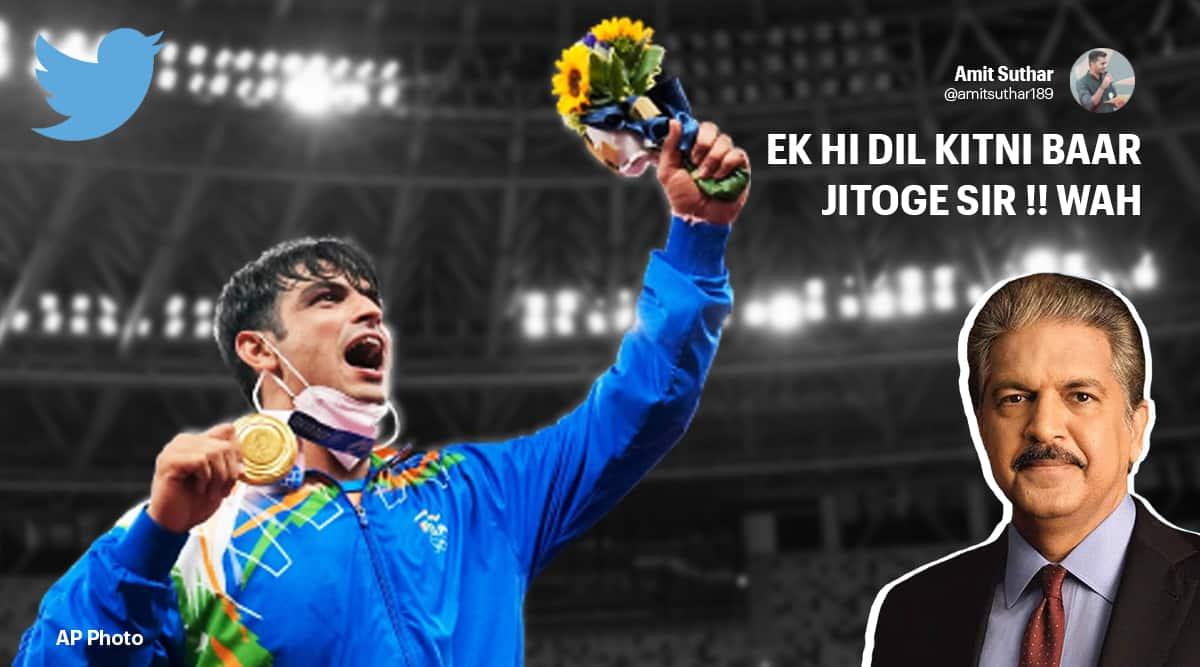 neeraj chopra, neeraj chopra gold, anand mahindra neeraj chopra gold viral tweet, XUV700 Neeraj chopra tokyo Olympics, trending, indian express, indian express news