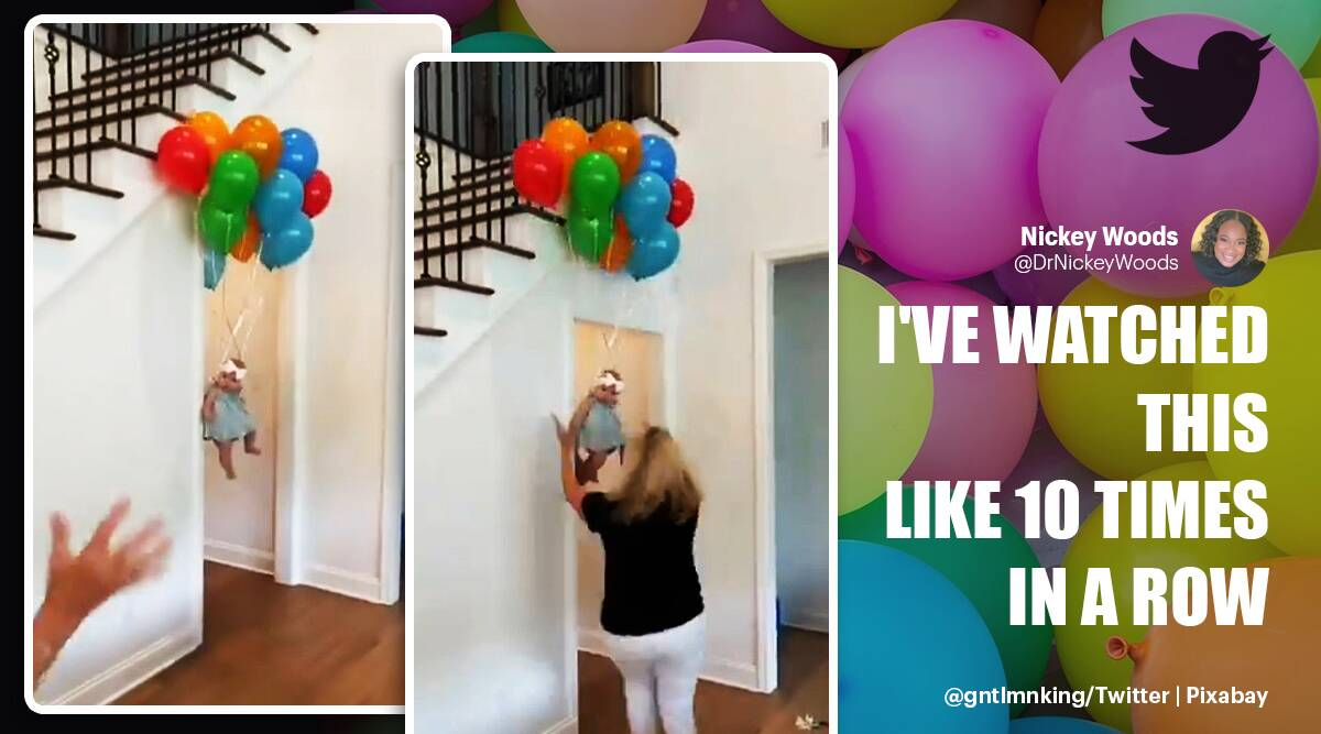 Grandma reaction baby floating balloons, flying baby viral video, flying baby trending, balloon prank, twitter reactions, indian express, indian express news