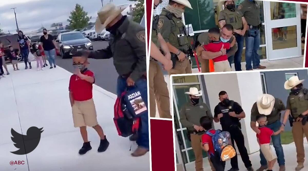 Frio County Sheriff's Office in Texas love support son of detective, son of late detective greeting by deputies viral video, trending, indian express, indian express news