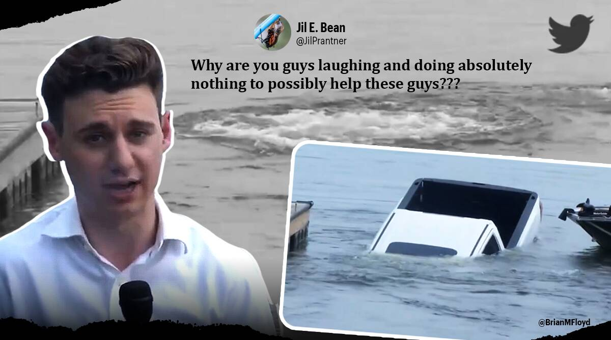 pickup truck rolls down boat launch Jakob Emerson Lake Springfield, GMC Sierra pick-up truck rolled backwards into Lake Springfield, viral video, trending, indian express, indian express news