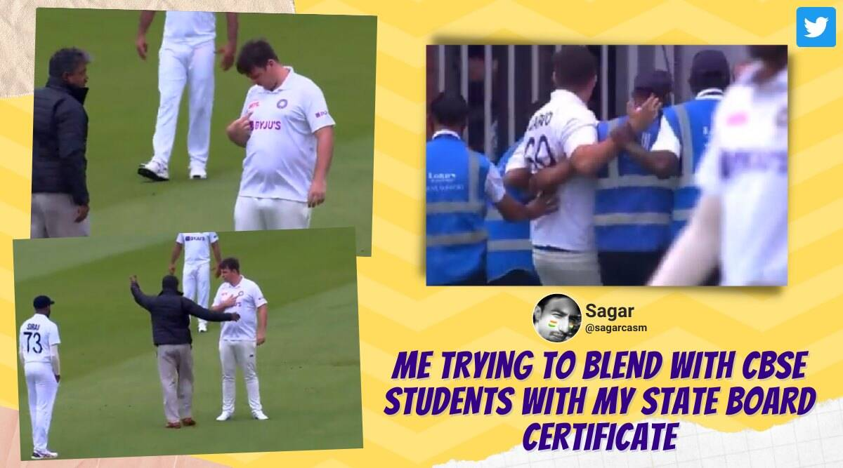 ind vs eng, lords test, pitch invader in indian jersey, man tries to enter lords field indian kit, cricket news, india england test, indian express