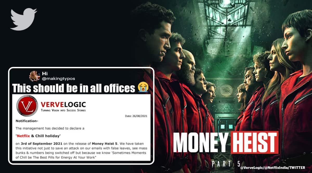 money heist, money heist 5, La Casa De Papel, La Casa De Papel season 5, jaipur company money heist holiday, odd news, viral news, indian express