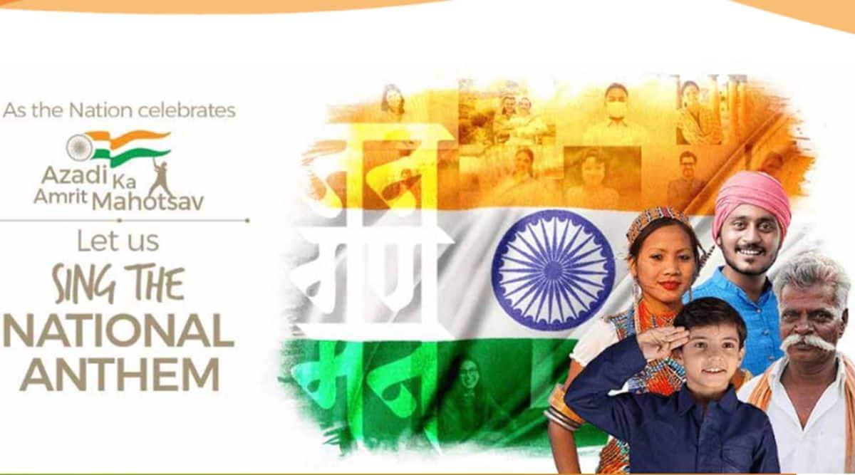 Azadi Ka Amrut Mahotsav sing the National Anthem, independence day, independence day celebration, india 75th independence day celebration, indian express, indian express news
