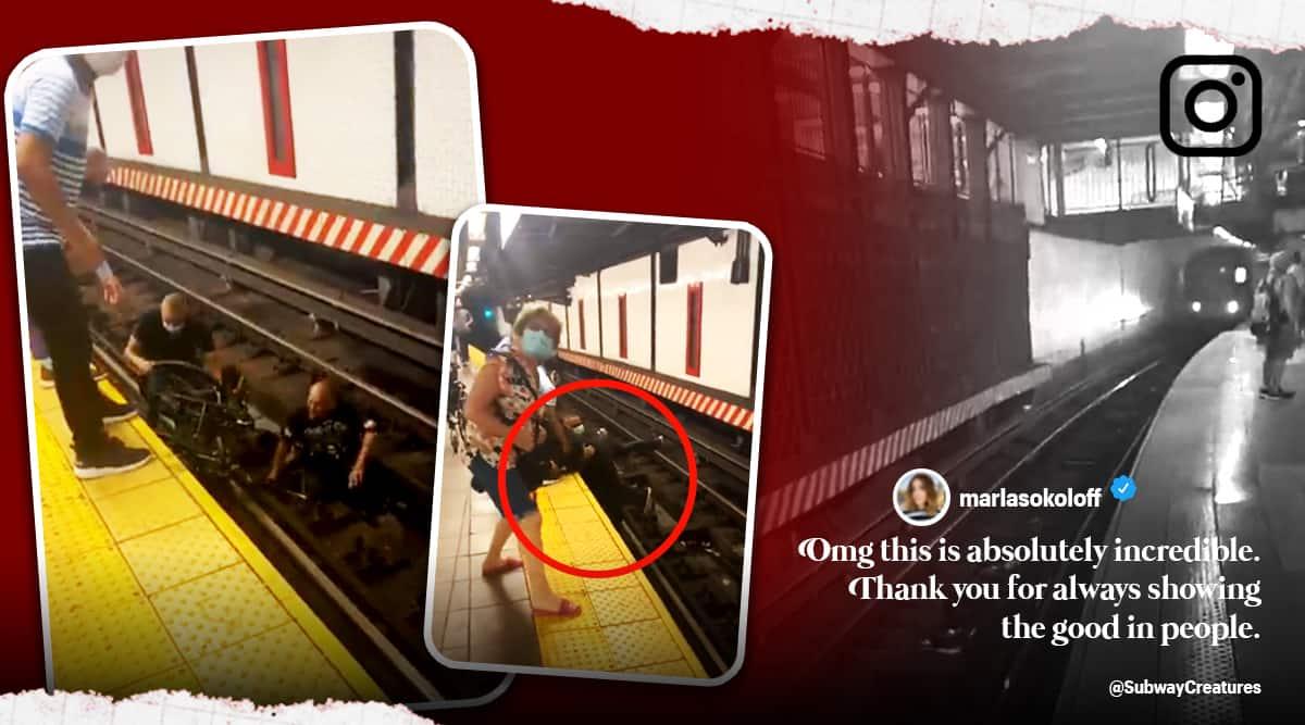 man saves wheelchair man in ny subway tracks, samaritan saves wheelchair man train tracks, man rescues ny train tracks, viral news, good news, indian express
