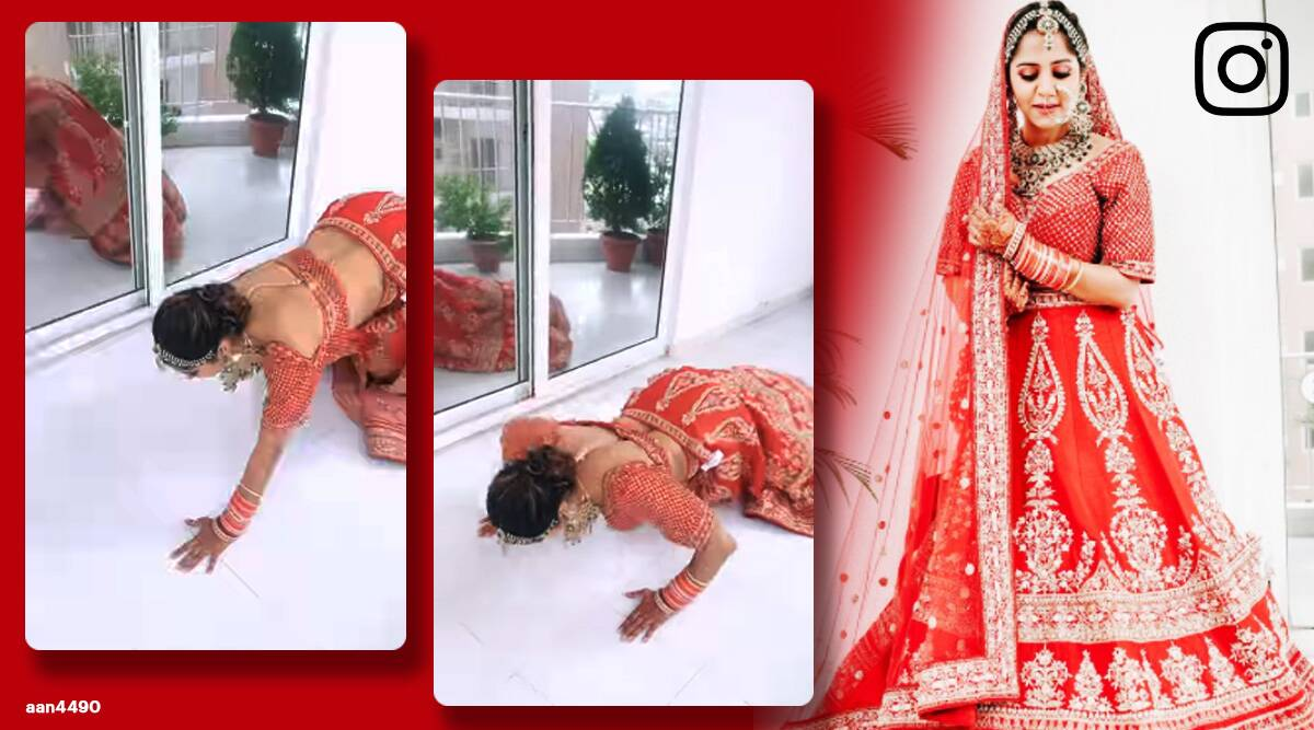woman push ups in bridal lehenga, bride exercise in lehenge, viral bride videos, bridal videos, viral videos, indian express