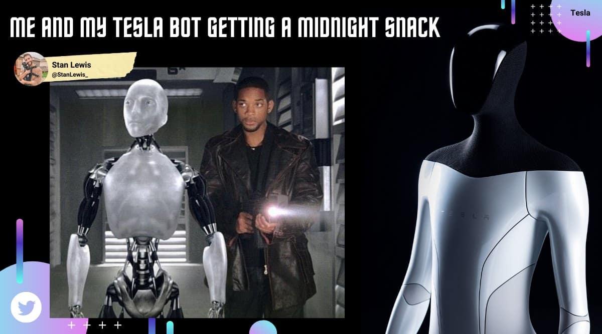 tesla bot, elon musk, tesla humanoid robots, tesla bot memes, musk tesla bot memes, tech news, viral news, indian express