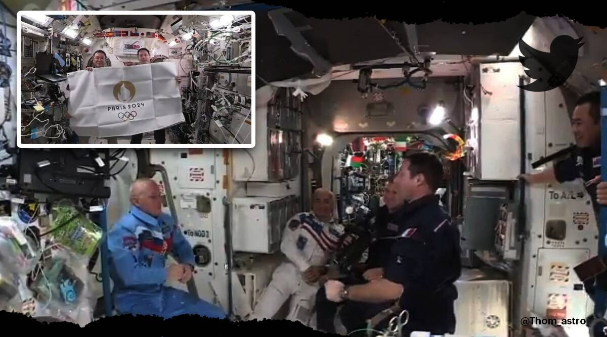 Astronauts closing ceremony 'Space Olympics' at ISS, tokyo olympics 2020, Tokyo2020 Olympics, Thomas Pesquet, twitter reactions, viral video, indian express, indian express news