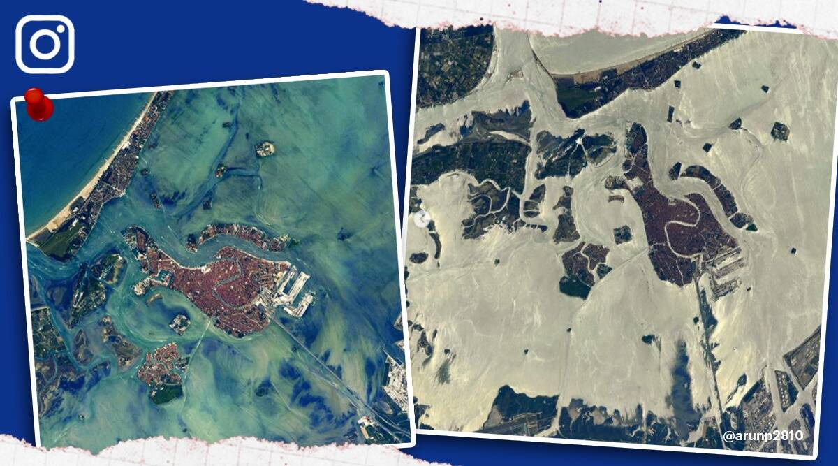 venice pictures space, venice from space Thomas Pesquet, Thomas Pesquet venice from space viral pictures, venice, trending, indian express, indian express news