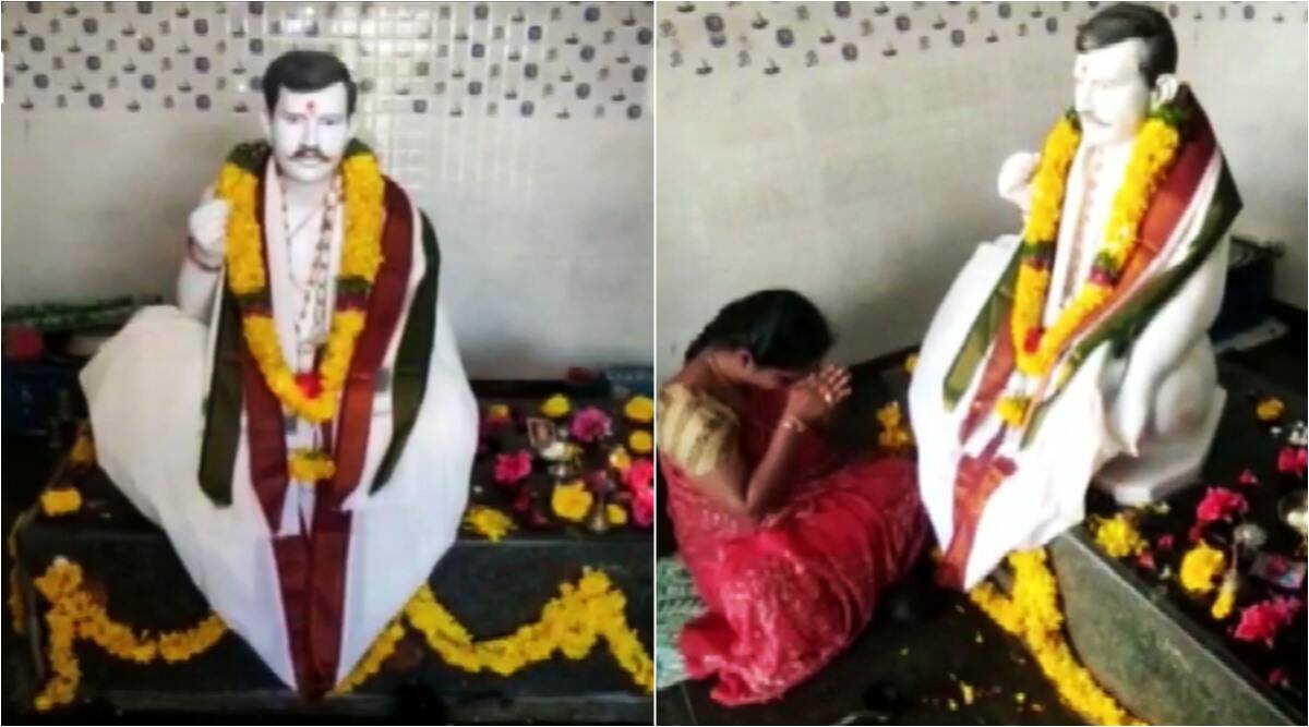 wife builds temple for husband, woman builds temple for dead husband, andhra woman temple for dead husband, odd news, indian express