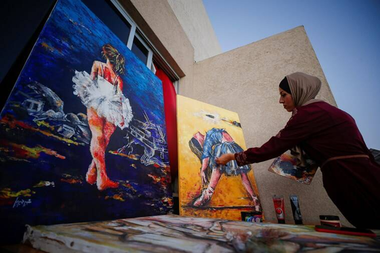 Gaza artist, Gaza artist ballet paintings, Gaza artist Abeer Jebril