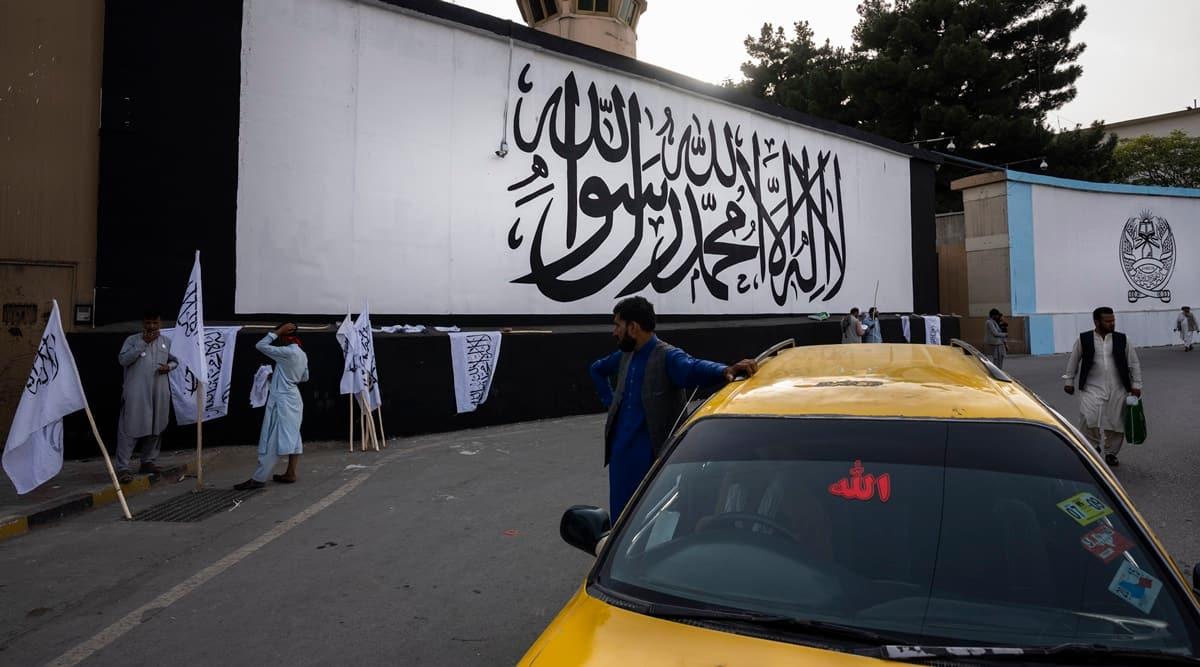 Taliban, Taliban flag, 9/11, United states, US embassy Kabul, Afghanistan, world news, indian express news, indian express, current affairs