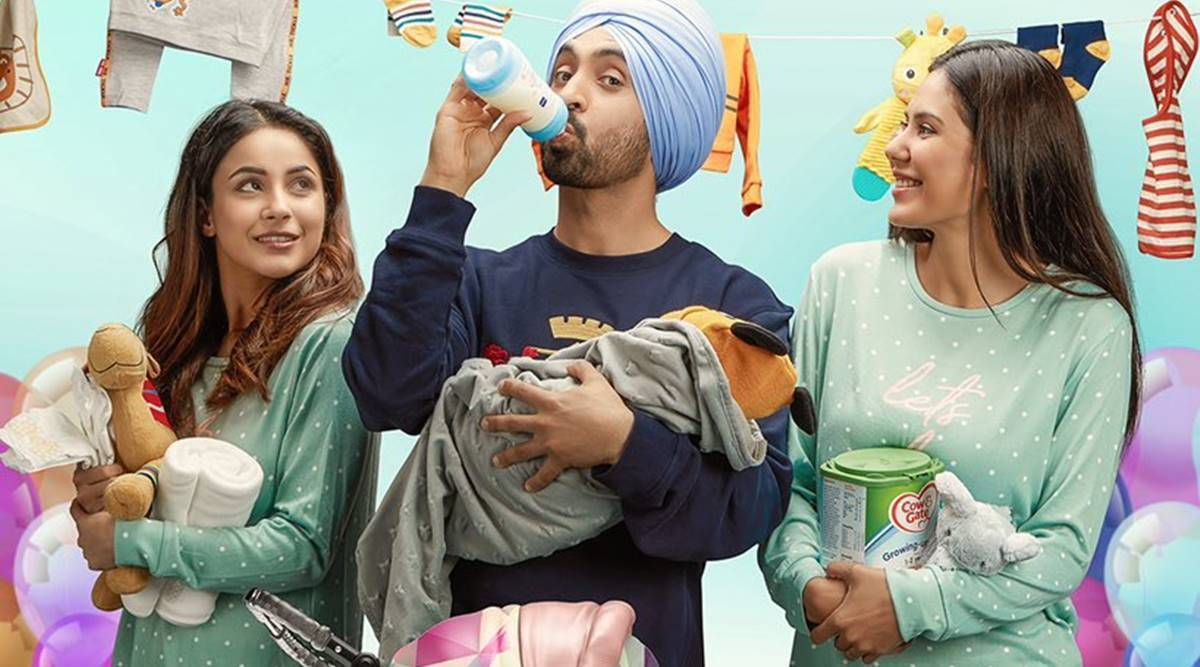 Shehnaaz Gill smiles at Diljit Dosanjh in latest Honsla Rakh poster,  trailer to be out soon | Entertainment News,The Indian Express