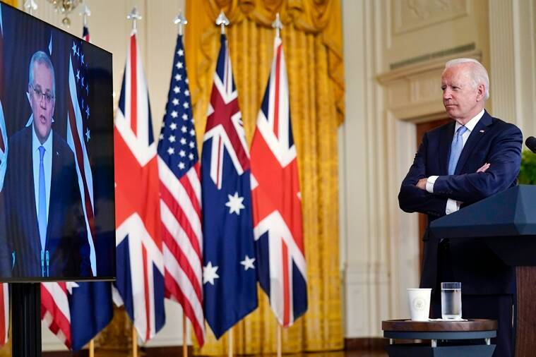 AUKUS, US Britain Australia pact, nuclear submarines, China, South China sea, What is AUKUS, US UK Australia defence deal, Indian Express