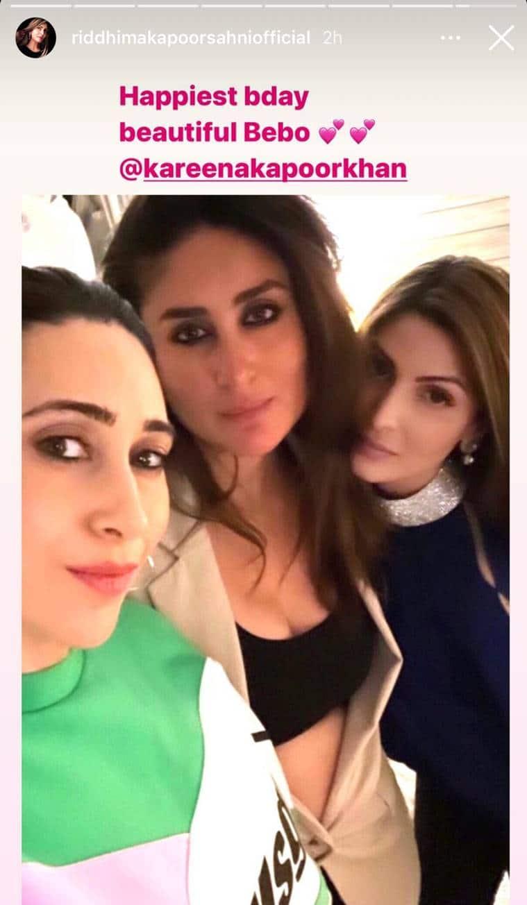 Riddhima Kapoor Sahani's post for Kareena on her birthday. (Photo: Riddhima Kapoor/Instagram)