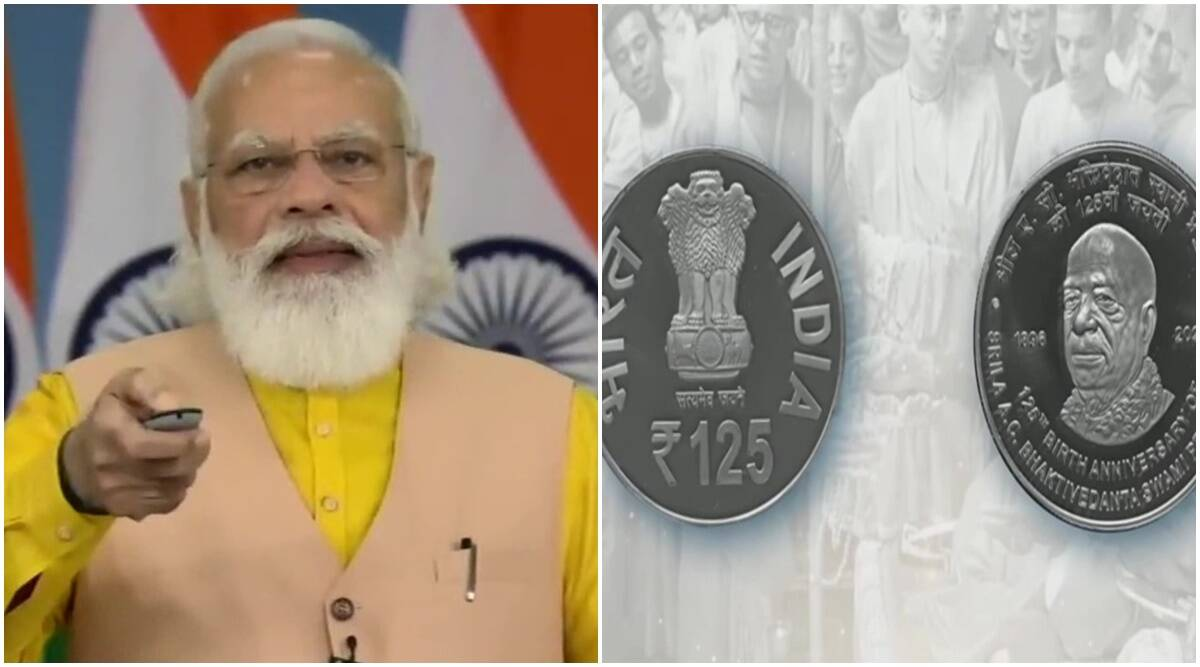 Rs 125 coin, Narendra Modi, PM Modi Rs 125 coin, ISKCON founder birth anniversary, Rs 125 coin released, India news, Indian express