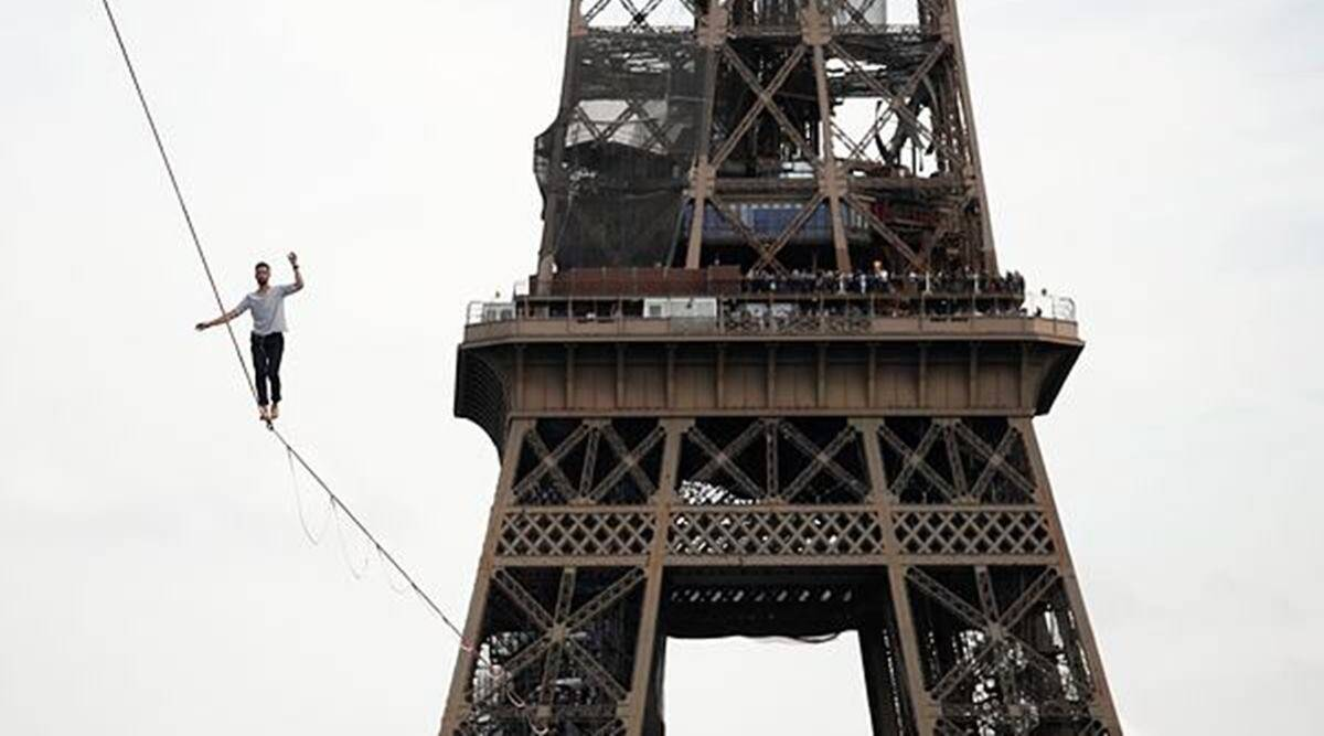 French slackliner, Eiffel Tower performance, Nathan Paulin, Nathan Paulin performance, Nathan Paulin in Paris, indian express news