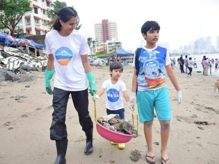 World Cleanup Day, World Cleanup Day 2021, Pragya Kapoor, Pragya Kapoor interview, Pragya Kapoor family, Pragya Kapoor children, Pragya Kapoor and Abhishek Kapoor, sustainability, environmental consciousness, beaches, beach cleanup, climate change, sustainable living, family, parenting, indian express news