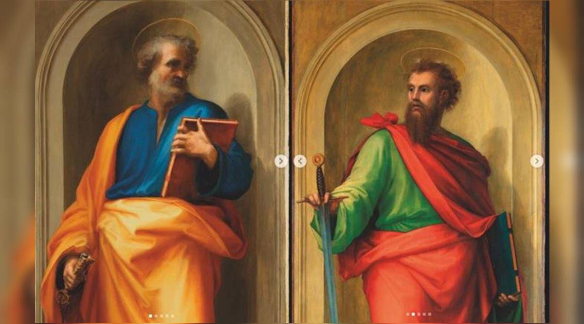 Vatican Museums, Uffizi Galleries, Saints Peter and Paul by Raphael and Fra Bartlomeo, paintings, art exhibition, indian express news