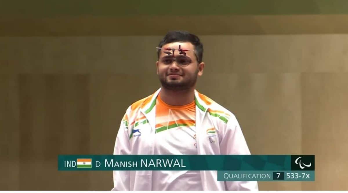 Manish Narwal wins gold, Singhraj Adhana, para shooting, Paralympics 2020, shooting paralympics, Paralympics gold, who si manish Narwal, Sports news, Indian express