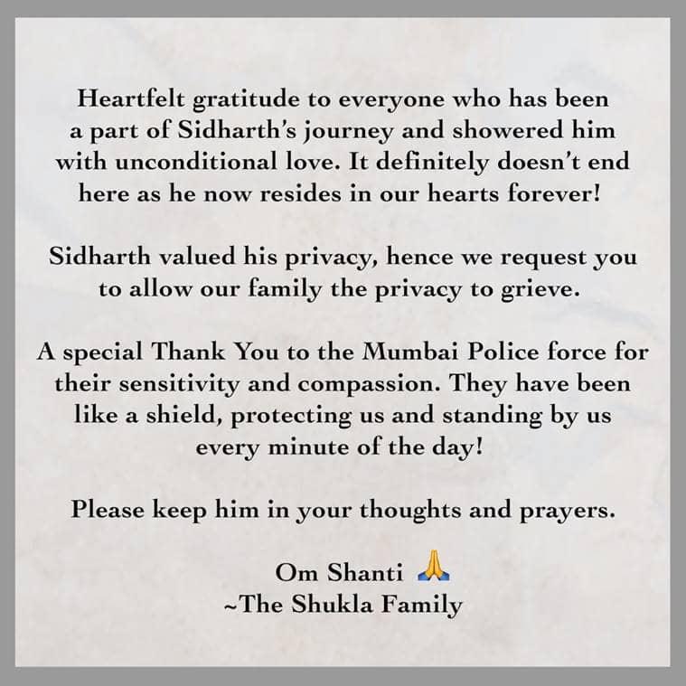 sidharth shukla family statement