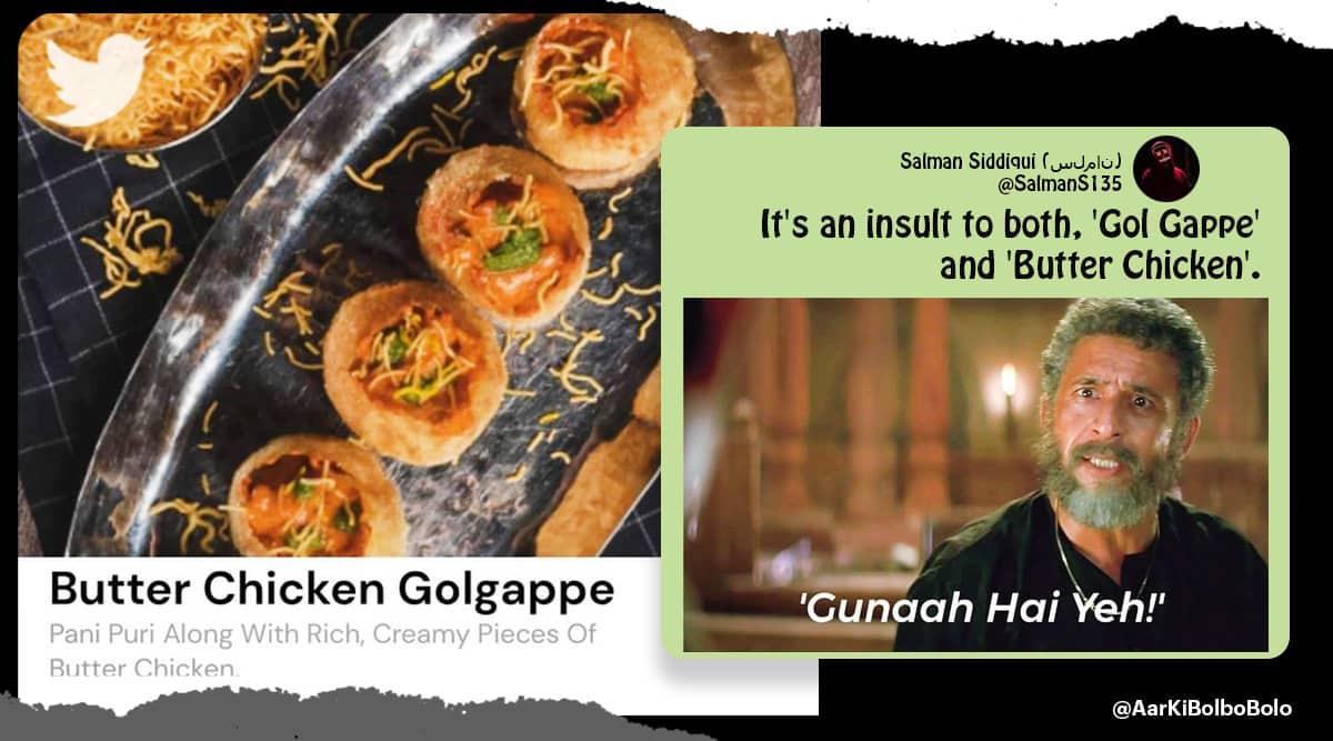 Butter Chicken Golgappe, chicken gol gappe, chicken pani puri, non veg golgappa, weird food, bizarre food, odd food combos, indian express