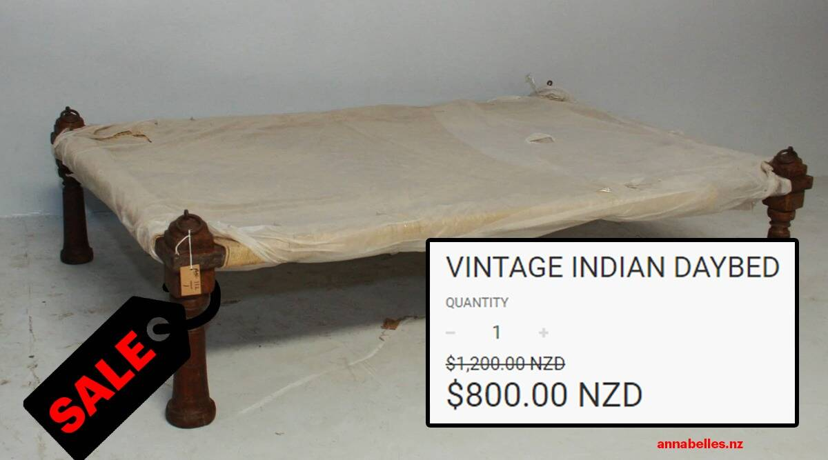 New Zealand website sells 'Vintage Indian Daybed 41,000, charpoy for $800, ANNABELLE'S charpai, charpoy, trending, indian express, indian express news