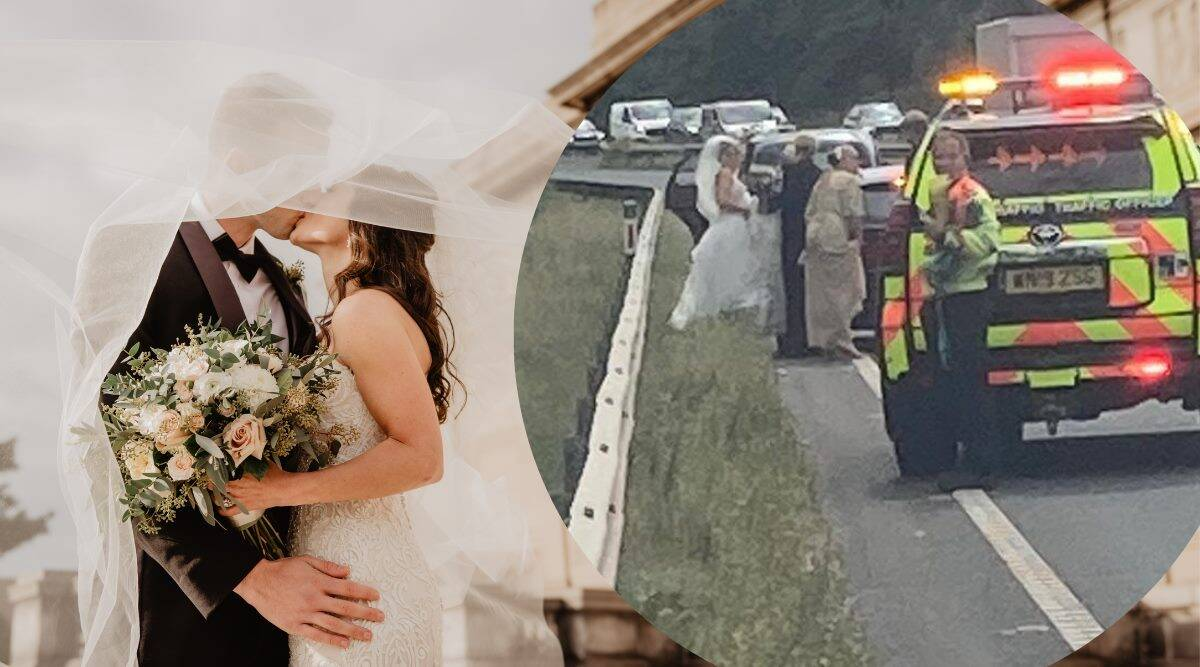 cops gives lift to stranded bride, bride car breaks down police give lift, police takes bride to church after car breakdown, good news, indian express