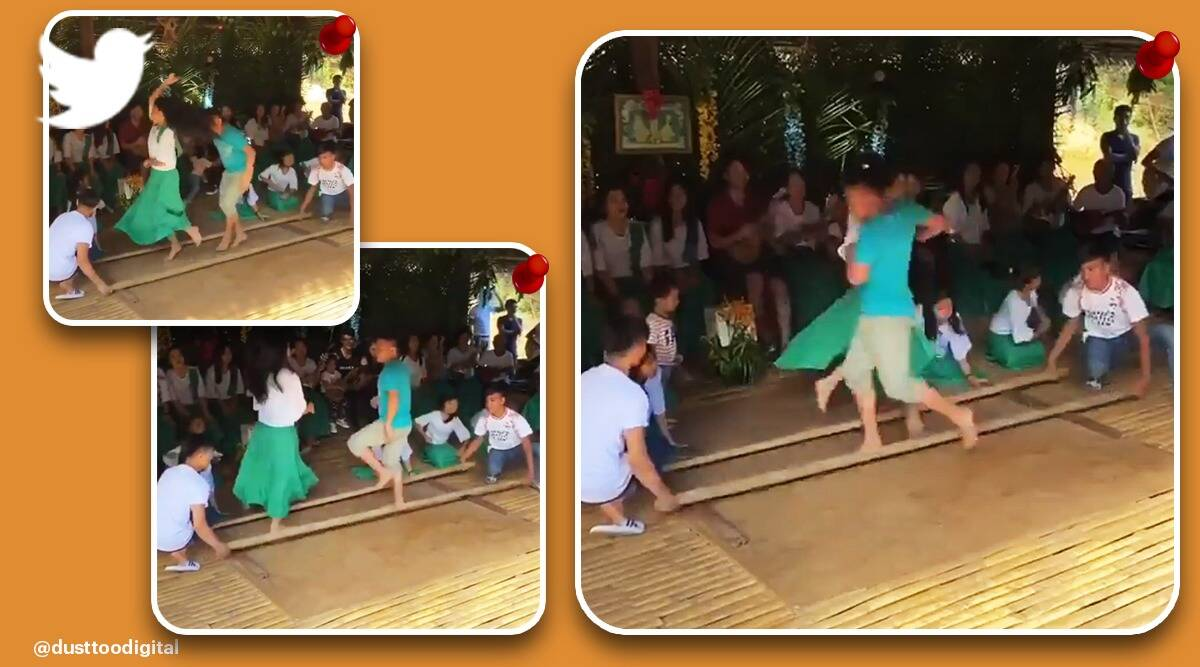traditional Philippines folk dance, tinikling dance, couple perform traditional Philippines folk dance viral video, trending, indian express, indian express news