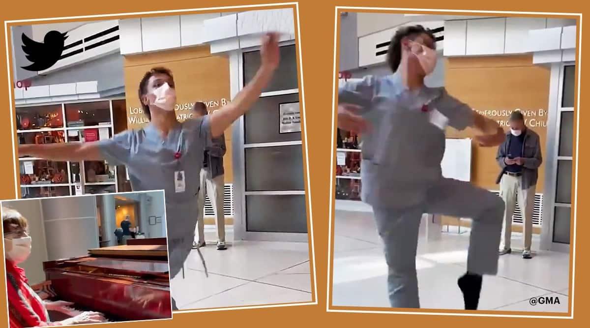 impromptu ballet performance in Utah hospital lobby, hospital worker Utah ballet performance viral video, trending, indian express, indian express news