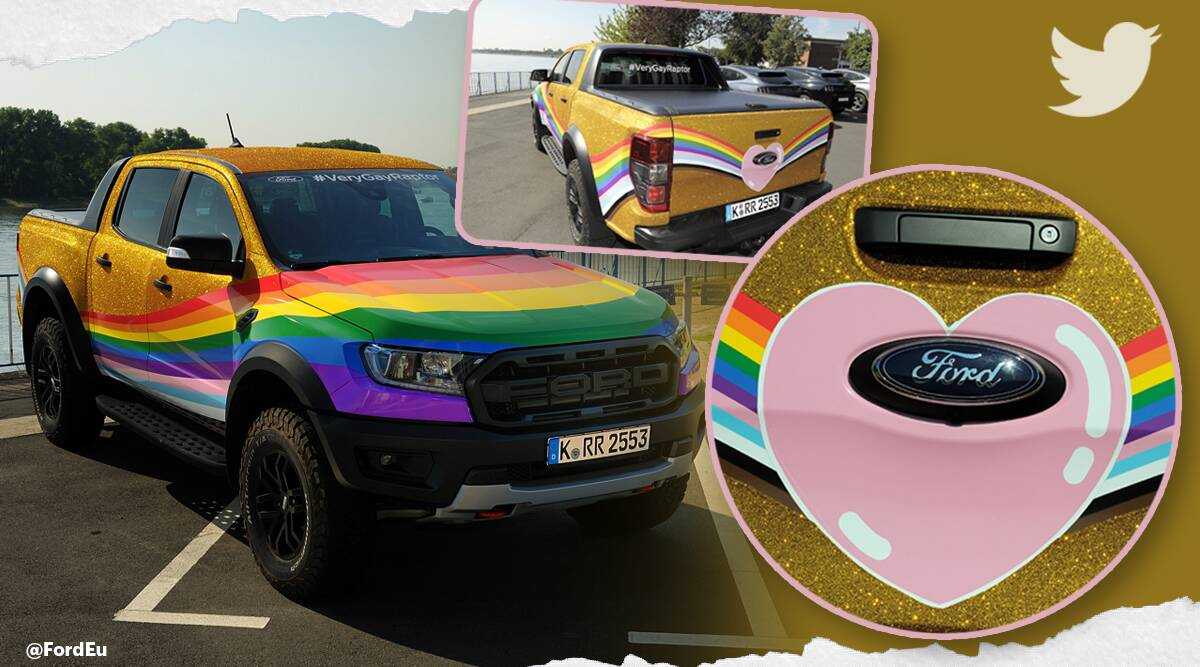 ford europe, ford rainbow truck, gay ford raptor, ford very gay makeover, Christopher Street Day, lgbtq community, company pride support, viral news, indian express