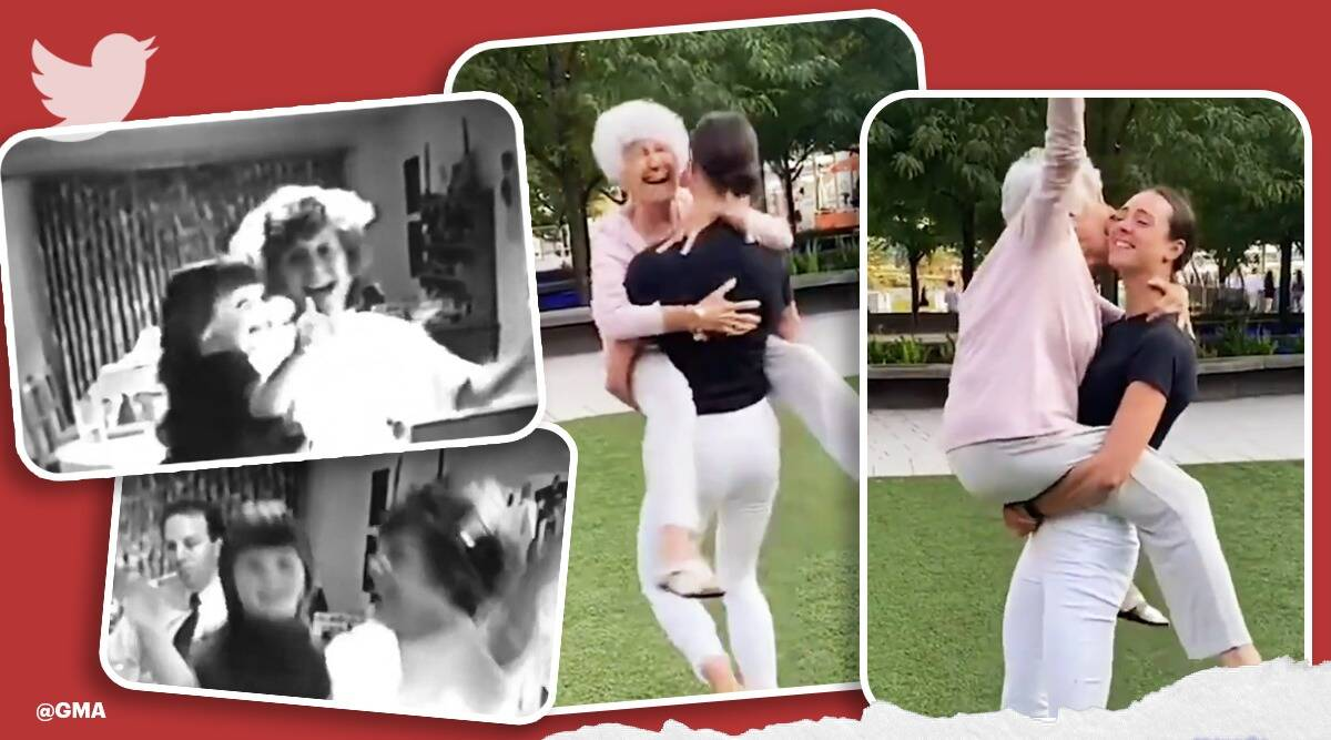 93-year-old grandma and her granddaughter recreate a special dancing moment, 93 year old viral dance, video, funny videos, tiktok, trending, indian express, indian express news