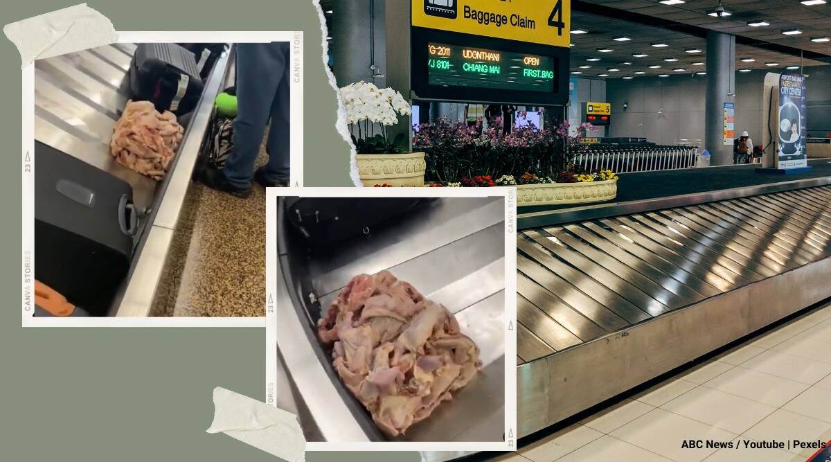 Raw chicken circulates on luggage carousel Seattle Tacoma International Airport viral video, twitter reactions, trending, indian express, indian express news