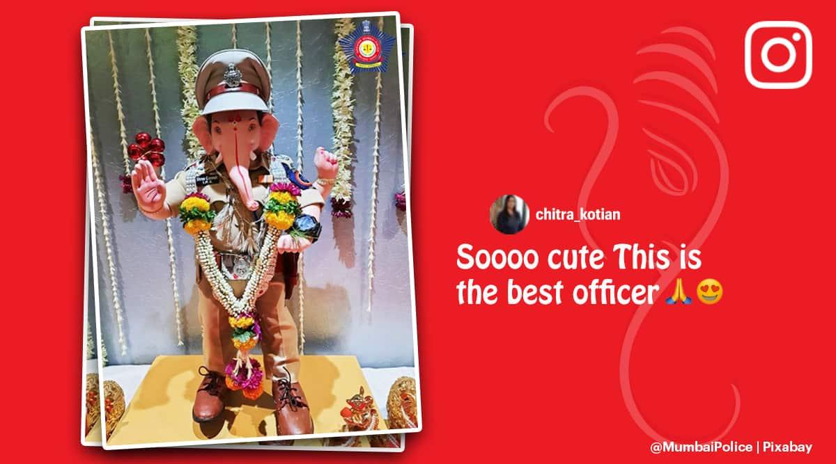 mumbai police, ganesh chaturthi, mumbai police ganesh idol, lord ganesh as ips officer, police officer ganesh, mumbai news, indian express