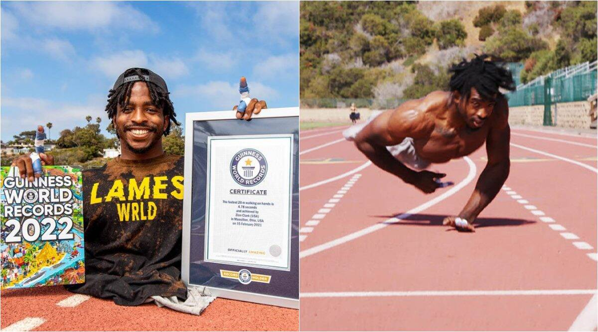 Guinness world record, guinness record fastest man, fastest 20m walk, fastest man two hands record, Zion Clark, odd news, 2022 gwr book, indian express
