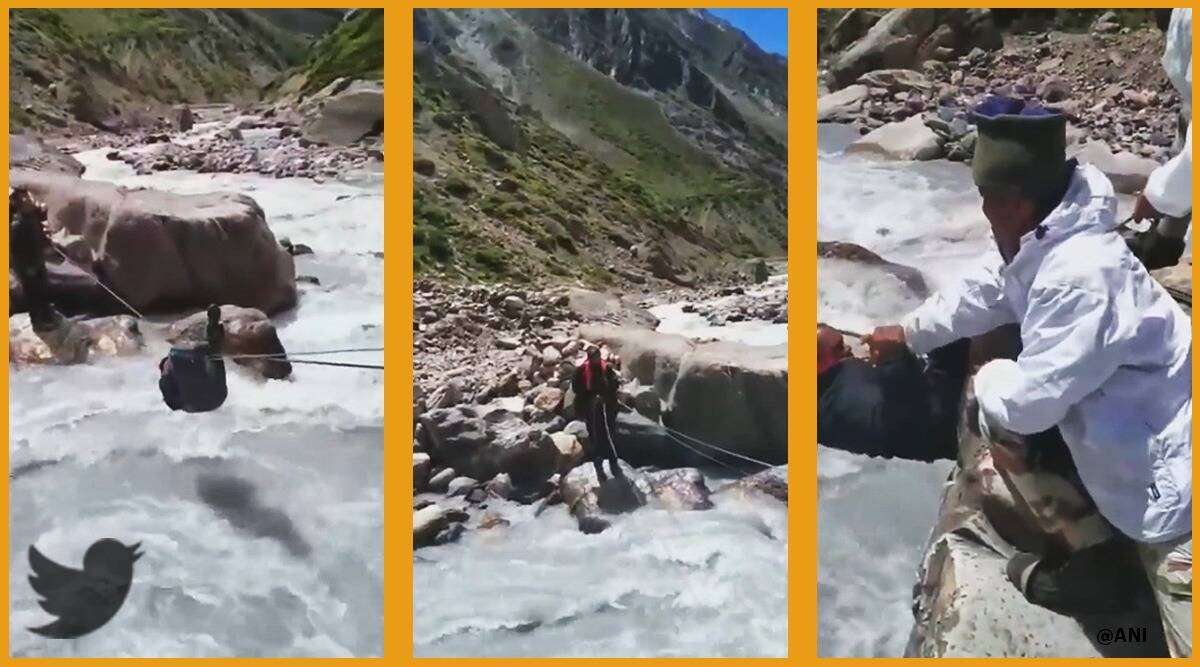 ITBP, ITBP rescue, ITBP personnel rescue Milam Uttarakhand, ITBP Uttarakhand rescue viral video, trending, indian express, indian express news