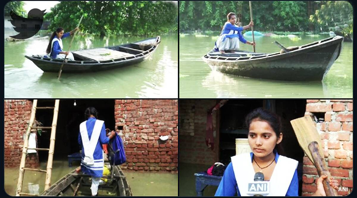 class 11 girl rows boat viral pictures, Girl Rows Boat to School UP Submerged Floods, 15-year-old Uttar Pradesh girl rows boat, Rahul Gandhi, Rahul Gandhi UP girl viral pictures, indian express, indian express news