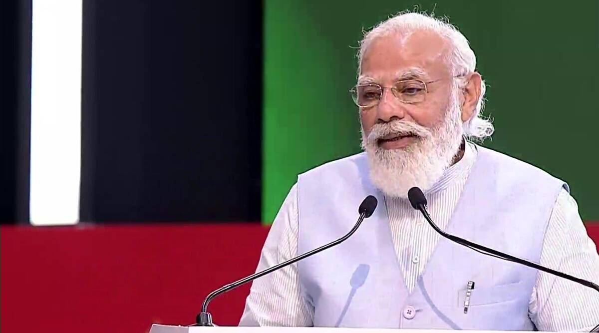 Narendra Modi, PM Modi in Lucknow, PM Modi news, Azadi@75, Yogi Adityanath, UP news, India news, Indian express