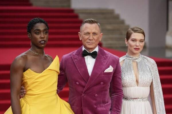 Lashana Lynch, Daniel Craig and Lea Seydoux