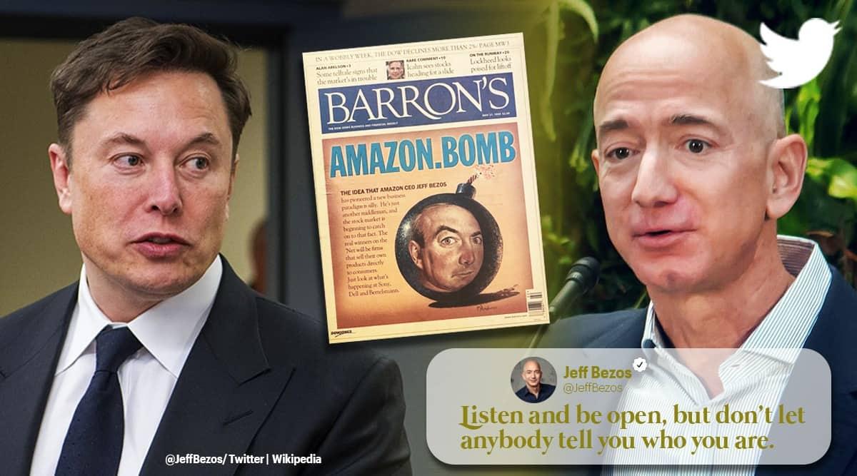 amazon ceo Jeff Bezos newspaper clipping predicting fall of amazon, elon musk responds, Jeff Bezos worth, trending, indian express, indian express news