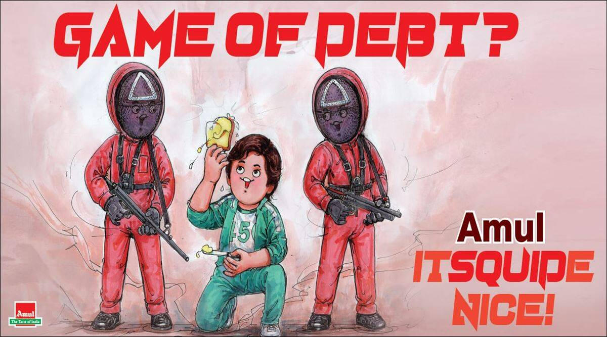 squid game, netflix squid game, squid game amul cartoon, amul topicals, latest amul topical, squid game dolgona candy, viral news, indian express