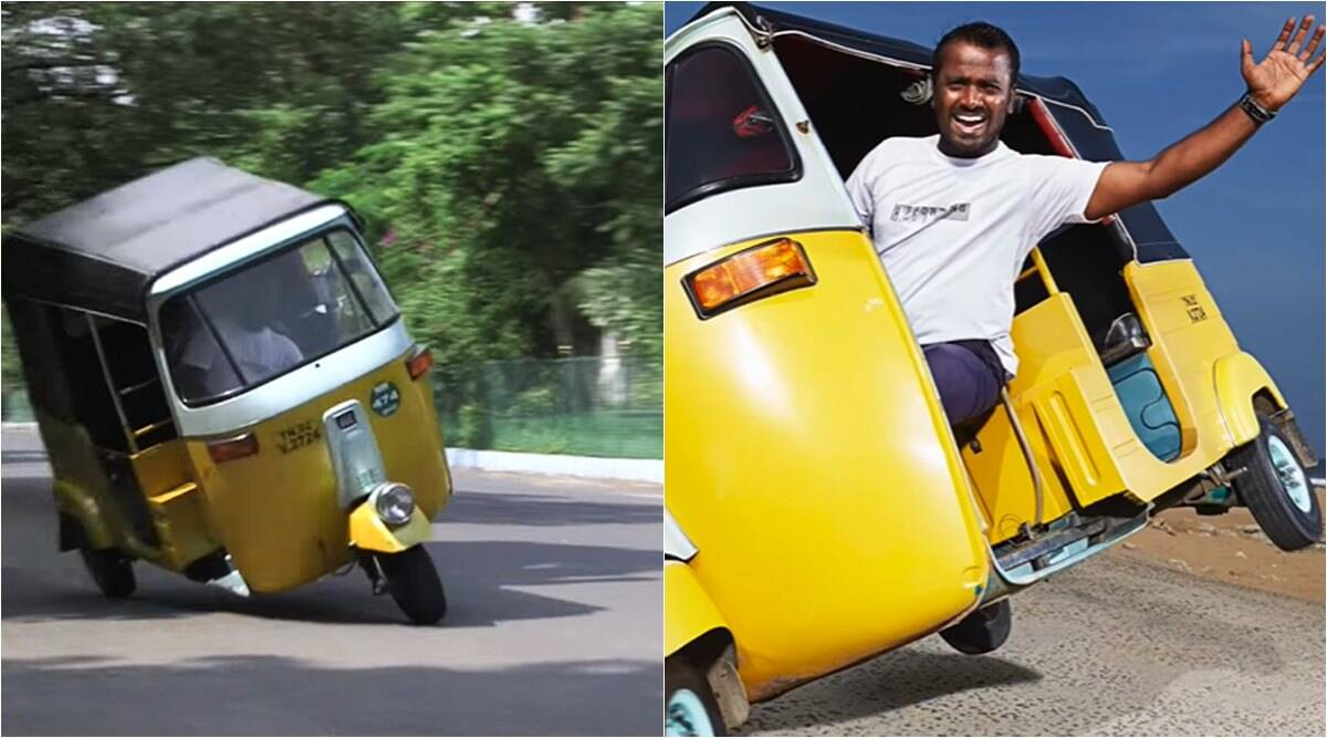 Watch: Chennai man makes Guinness World Record by driving auto-rickshaw on two  wheels for 2.2 km | Trending News,The Indian Express