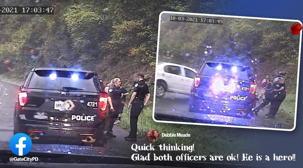 police officer saves colleague car crash, gate city police department, car crash cop saves cop, police officers escapes car crash, viral videos, indian express