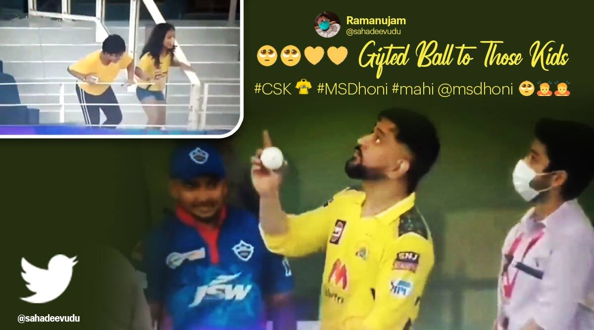 CSK vs DC IPL, MS Dhoni, IPL matches, MS dhoni gifts signed ball young csk fans viral video, trending, indian express, indian express news
