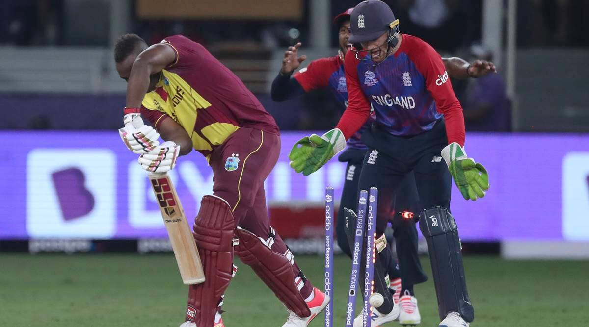 West Indies' Andre Russell is clean bowled by England's Adil Rashid during the T20 World Cup match. (AP Photo)