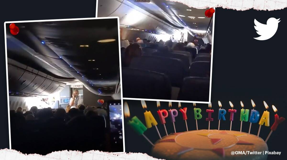 Southwest Airline crew lead birthday song twin girls on board passengers, passengers and crew on Southwest Airline flight sing happy birthday for twins, trending, indian express, indian express news